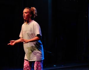 Emma Nixon performing a monologue