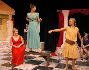 Kalonike (Chloe Buckley), Lysistrata (Jodie Leigh-Banks) and Lampito (Laura Sherriff)
